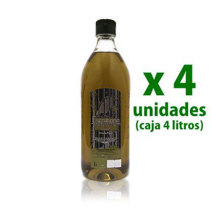 cuatro unidades de pet de un litro de aceite escribano verde