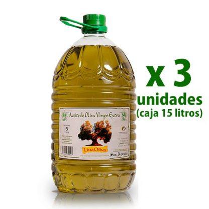 foto de una garrafa de 5 litros de aceite de oliva virgen extra linaoliva