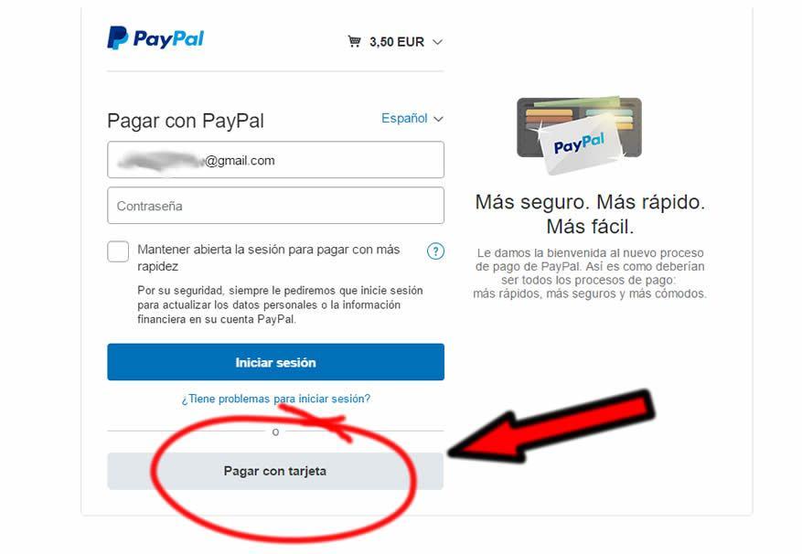 Captura de pantalla para pagar con tarjeta de crédito a través de paypal