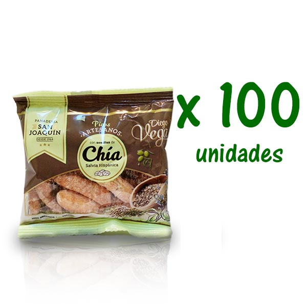 picos con chía diego vega 20 g x 100 uds