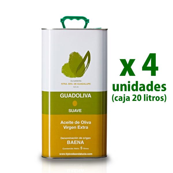 aceite guadoliva en 4 latas de 5 litros